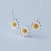Freshing daisy 925 sterling silver necklace,a perfect gift