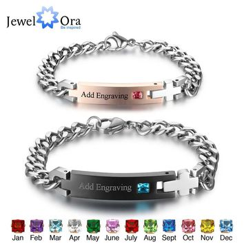 Personalized Birthstone Engrave Name Bracelet Lovers' Bracelets & Bangles Gift For Couple His Queen Her King (JewelOra BA101977)