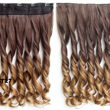 """Dip dye hairpieces New Fashion 24"""" Women Clip in on gradient wig Bath & Beauty Hair Ombre Hair Extensions Two Tone Curly Hair Gradient Hair Extension Colorful Hairpieces GS-888 8T27,1PCS"""
