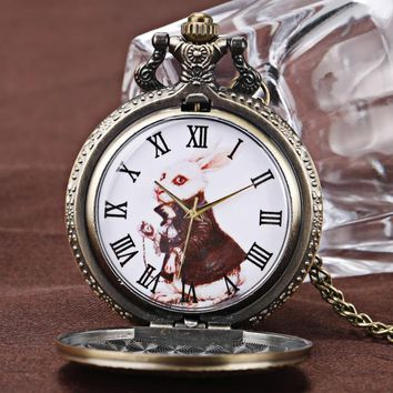 Vintage Watch Alice in Wonderland Cute Rabbit Copper Quartz Pocket Watches Men Women Beautiful Pendant Necklace Daughter Gift