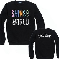 Kpop shinee concert shinee world colorful letter print black hoodies member name print o neck pullover sweatshirt