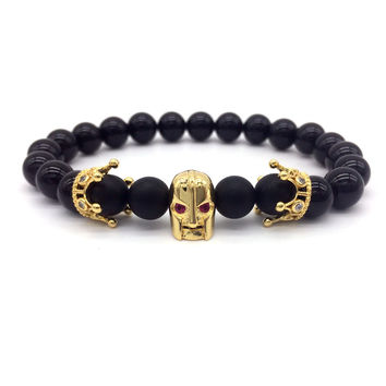 2016 Men Bracelet Red Eye Spartan Crown Bracelet  Warrior Jewelry Skull Skeleton Bracelet & bangles men's bracelets