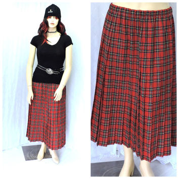 Vintage long tartan skirt L  / plus size, red plaid wool maxi skirt, long pleated wool skirt  L / XXXL, SunnyBohoVintage