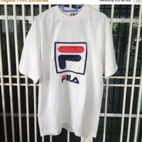 sale 30% fila t shirt embroidery logo Large size