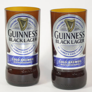 Guinness Black Lager Drinking Glasses, Recycled Beer Bottle, 8 oz. Drinking Glass, ONE glass