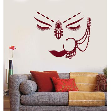 Vinyl Wall Decal India Hindu Girl Face Piercing Beautiful Woman Face Stickers Unique Gift (1711ig)