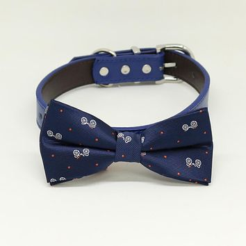 Navy Dog Bow Tie Collar, Navy dog collar,Handmade, leather dog collar