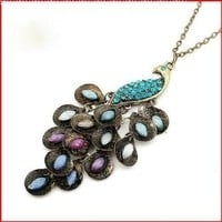 Leegoal Retro Peacock Crystal Necklace Pendant Jewelry Vintage Style