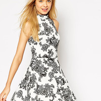 Casual Floral Halter Neck Sleeveless Mini Skater