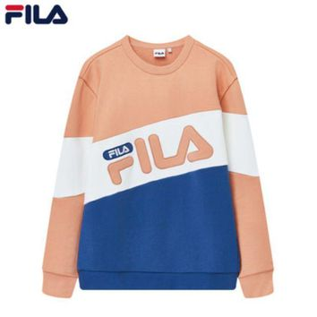 FILA Tide brand autumn and winter men and women contrast color mosaic LOGO long sleeve sports sweater