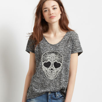 Sheer Crochet Skull Knit Hi-Lo Top