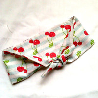 Rockabilly/Pin Up Headwrap- Red Cherries, Blue Stripes
