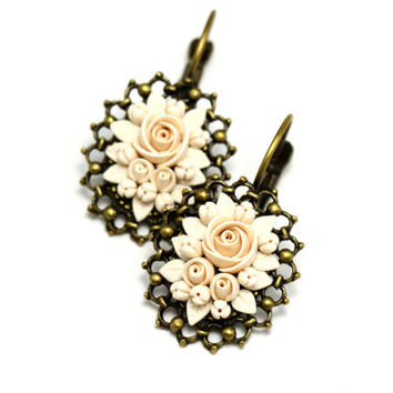 "Beige Floral Earrings ""Cream"" St. Valentine's Day Gift Romantic Jewelry Feminine Jewelry Neutral Colors Small Earrings Delicate Earrings"