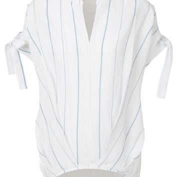 LE3NO Womens Loose Fit High Low Self Tie Short Sleeve Striped Blouse Top