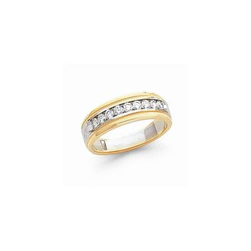 14k Two-tone Gold Diamond Men's Band Ring I2 Clarity and I/J Color