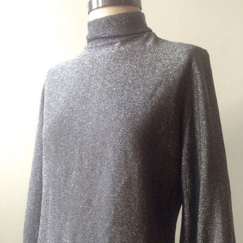 Metallic 70s Top Vintage Disco Silver Shirt size Small to Medium Glittery Blouse Long Sleeve