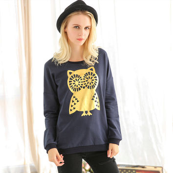 Owl Print Long Sleeve Sweater