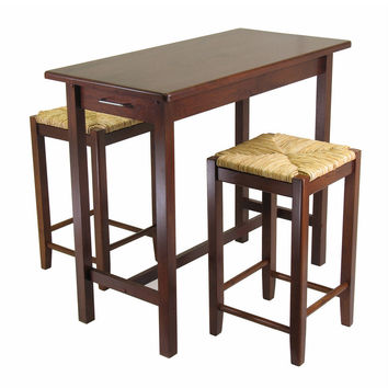 Winsome Wood Winsome Wood 3pc Kitchen Island Table with 2 Rush Seat Stools