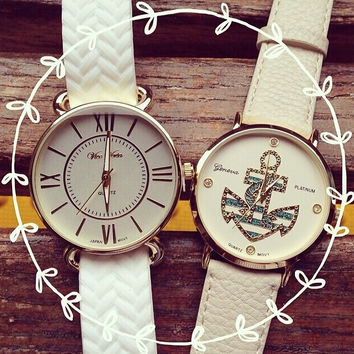 PU Leather Belt Round Dial Quartz Watch with Anchor Print