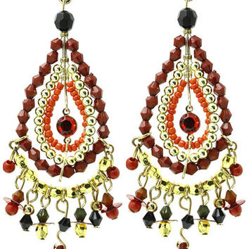 Oval Seed Bead Mixed Bead Earrings Red