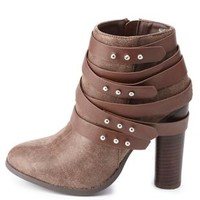 Dollhouse Belt-Wrapped Chunky Heel Booties by Charlotte Russe - Brown