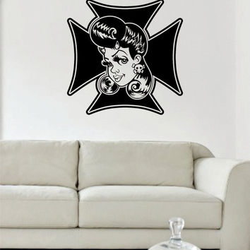 Rockabilly Girl Iron Cross Greaser Design Decal Sticker Wall Vinyl Decor Art