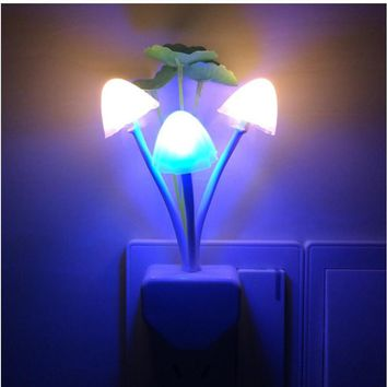 EU US Plug LED Lamp Romantic Mushroom Lotus leaf Night Light Wireless Bed Lamp Home Illumination Lights Sensor Automatic Startup