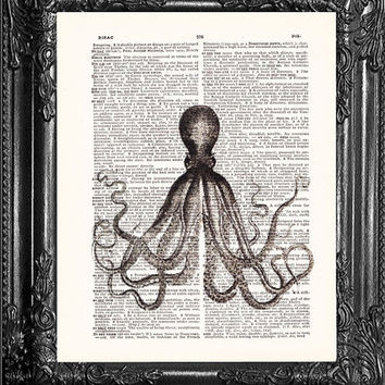 Sea Creature, Black Octopus-Dictionary Print Vintage Book Print Page Art, Upcycled Antique Book Art, Vintage Mixed Media Collage Book Art