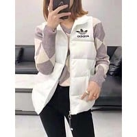 Adidas Winter Hot Popular Women Print Sleeveless Vest Waistcoat Zipper Cardigan Jacket Coat White
