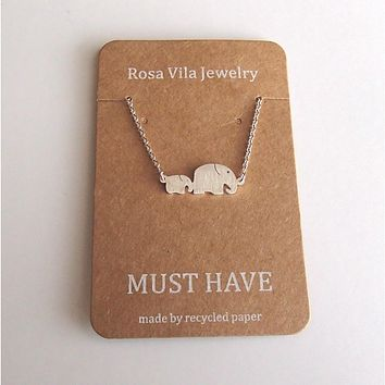 Dainty Mom & Baby Elephant Animal Necklace