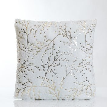 White/Gold Branches Pillow-Etre Collection