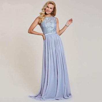 Lace long evening dresses scoop sleeveless floor length a line gown women chiffon wedding party formal evening dress
