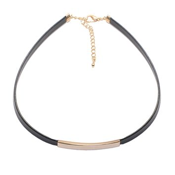 Sliding Bar with Skinny Black Leather Choker Necklace