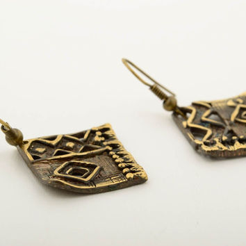 Unusual handmade metal earrings stylish bronze earrings fashion trends