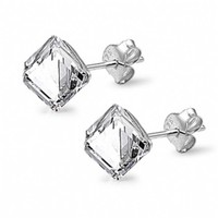 Aretha's Clear Swarovski Crystal Cube Stud Earrings