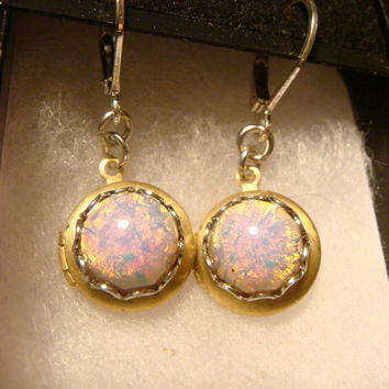 Fire Opal Vintage Locket Earrings (1371)