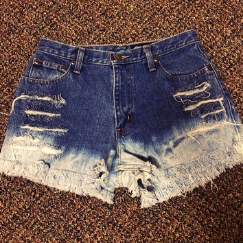 High waisted denim shorts extra frayed and bleached
