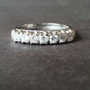 Wedding Ring, White Gold Half Eternity Ring, Diamond Band Ring, 9 Carat Gold Diamond Ring, Classic Elegant Engagement Ring, Anniversary Gift