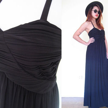 Vintage 70's size 8/10 halter smocked ruched black pleated gown party cocktail maxi dress medium wedding