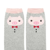 Pig Face Pattern Ankle Socks