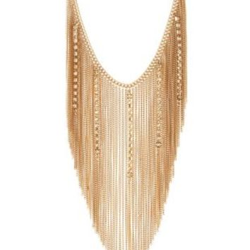 Gold Rhinestone & Chain Fringe Necklace by Charlotte Russe