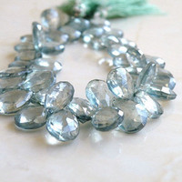 Green Mystic Quartz Teardrop Briolette Gemstone Sea Green Teal Faceted 10mm 1/2 Strand Wholesale