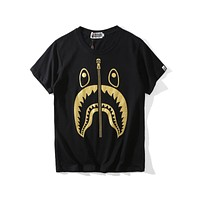 Bape summer trend hot stamping shark printing couple round neck T-shirt F-A-KSFZ black