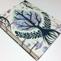 Handmade Fabric Journal Notebook - Coptic Stitched - Tree of  Life on Cream