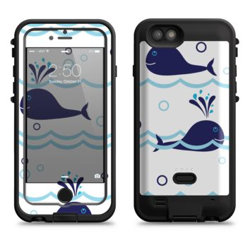 The Navy Blue Smiley Whales  iPhone 6/6s Plus LifeProof Fre POWER Case Skin Kit