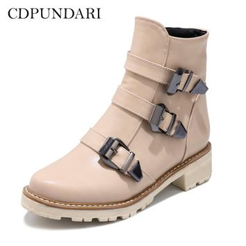 CDPUNDARI Round Toe Flat Ankle boots for women Platform Winter Boots