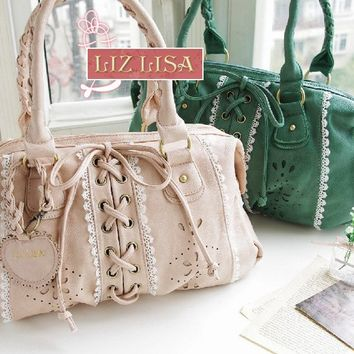 JAPAN LIZ LISA Sweet Princess Leather Ribbon Bow Holdall Handbag Charm Bag