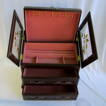 Large Wood Jewelry Box Chest Pop Up Necklace Display Double Glass Doors