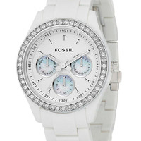 Fossil Ladies Crystal-Accent White Resin Boyfriend Watch