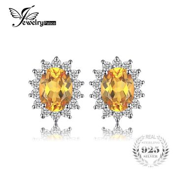 JewelryPalace Kate Princess Diana 1.1ct Natural Citrine Halo Stud Earrings 925 Sterling Silver Fine Jewelry